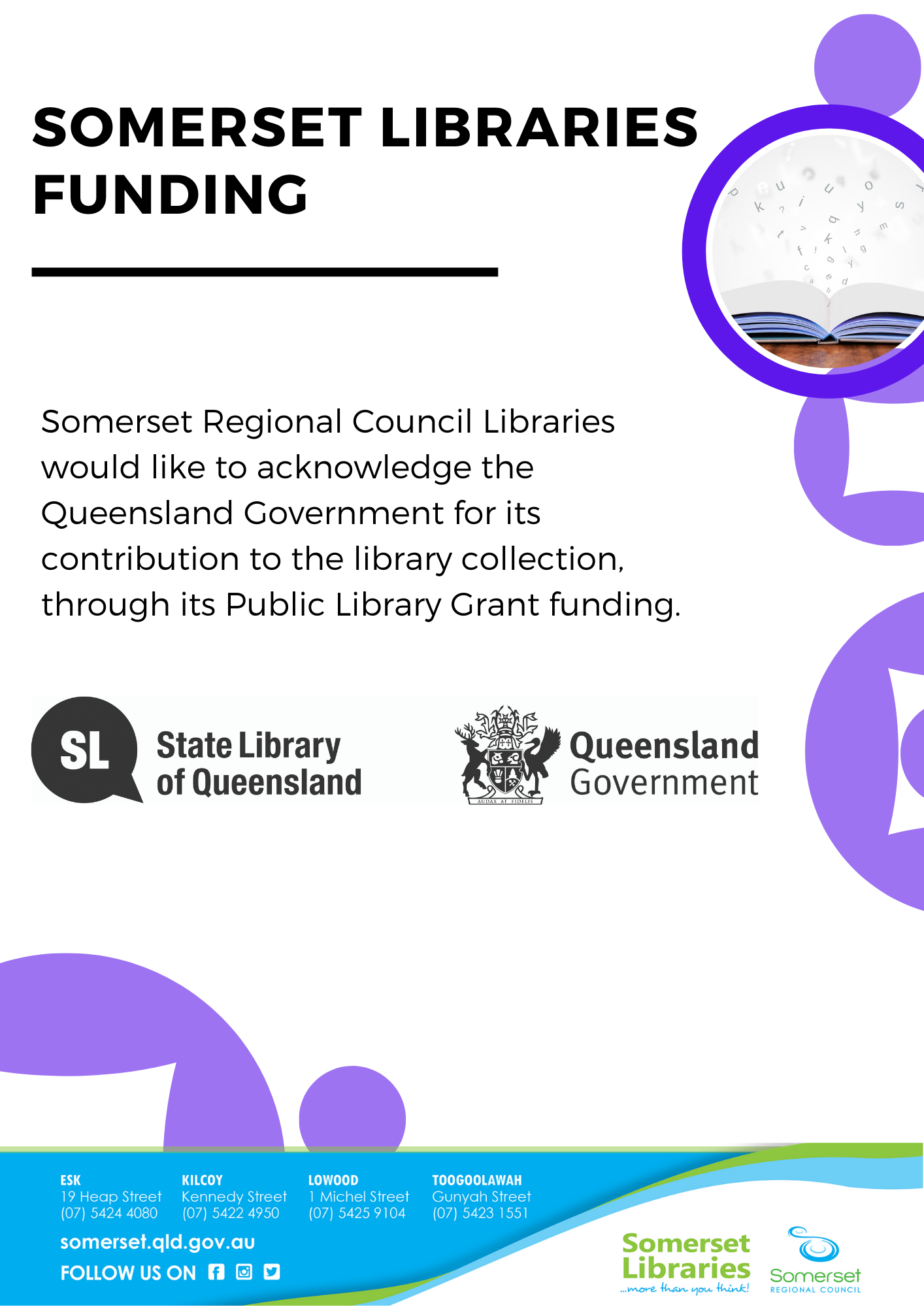 Somerset Libraries Funding: Somerset Regional Council Libraries would like to acknowledge the Queensland Government for its contribution to the library collection, through its Public Library Grant funding. State Library of Queensland